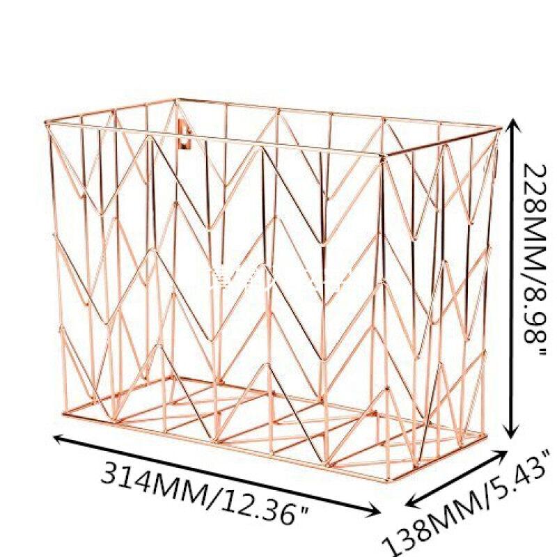 Fashion office home Office Supplies Rose Gold Wire Metal Desk Organizer File Desktop storage basket