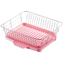 Deluxe Chrome plated Steel with Drainboard Cutlery Cup 1-Tier Kitchen Mini Metal Drying Dish Rack
