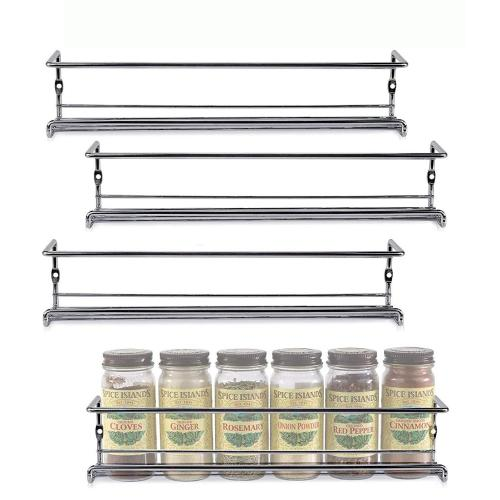 WIDENY custom kitchen accessories commercial hanging wall-mount 4 tiers white metal wire adjustable spice rack
