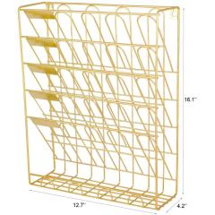 Wideny Office Gold Metal Wire 5 Tier Vertical Mount Hanging Wall File Organizer with Bottom Flat Tray