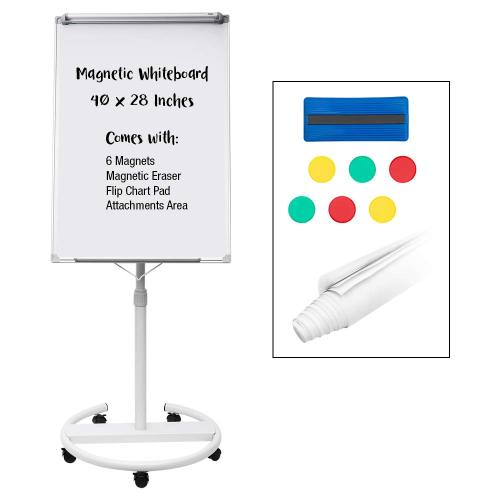 Office School Supplies magnetic metal mobile dry erase board with whiteboard height adjustable flip chart easel with marker tray