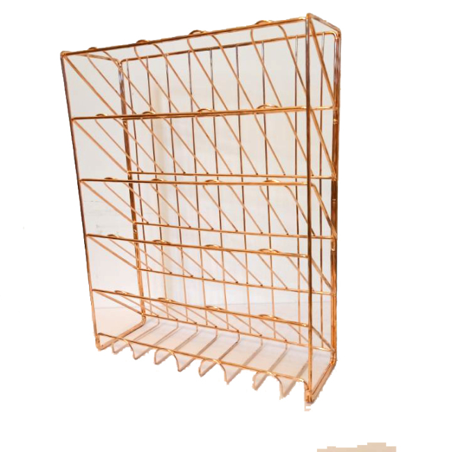 2019 Fashionable suppliers metal wire Rose gold mesh door hanging wall mount file folder organizer