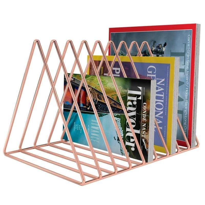 Wideny Rose Gold Metal 9 Slot Triangle Shape Magazine Holder Desktop File Sorter Organizer
