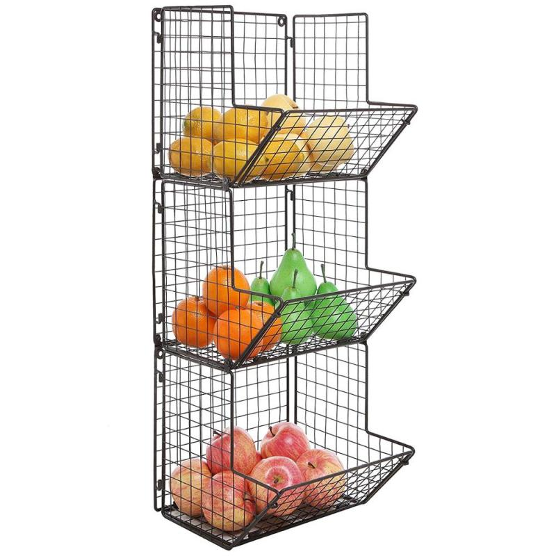Wideny wholesale home kitchen 3 tiers black wall mounted iron metal wire mesh fruit potato storage basket