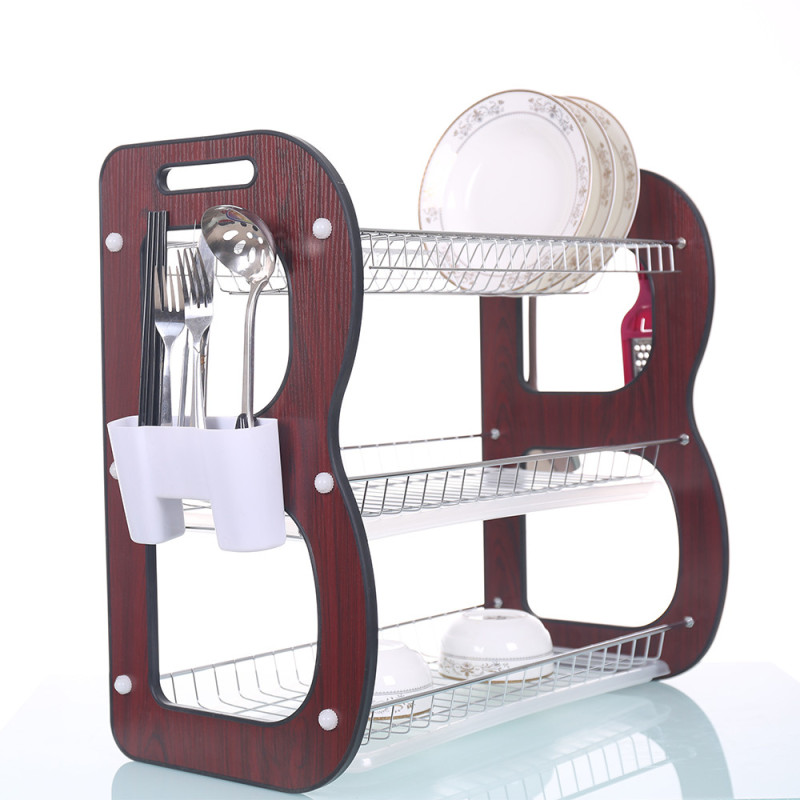 Manufacture High Quality  kitchen Stainless Steel plate storage dish drying rack with plastic salver