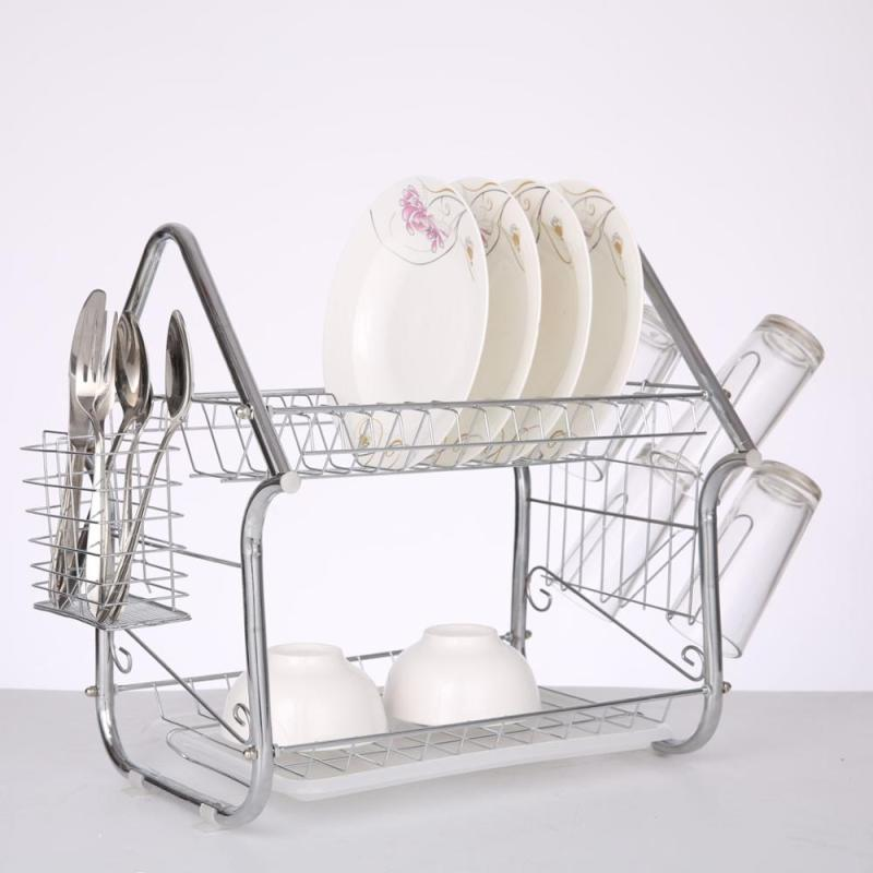 Home kitchen organizer house type metal 2 tier dish drainer drying rack with plastic salver