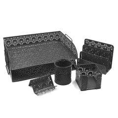 Hangzhou Supplies office High Quality  Beautiful Black Foldable metal desk organizer set