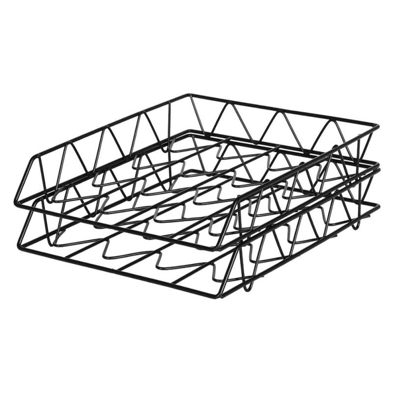 Hot selling office wall hanging black mesh metal A4 paper folder vertical file organizer