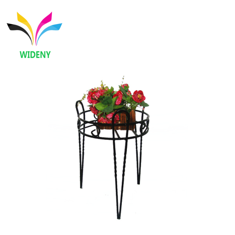 Indoor wrought coating black customized metal iron plant stand
