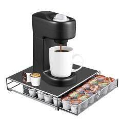 2020 New Design Pull Type Black Powder Coating Single Tier Iron Metal Wire Storage Capsule Coffee Pod Holder