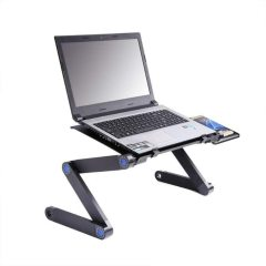 Wideny Adjustable Laptop Stand, Portable Laptop Table Stand with 2 CPU Cooling Fans, Ergonomic Lap Desk TV Bed Tray Stand