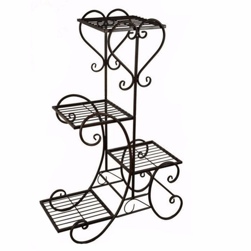 Home & Garden decoration 4 tiers square black powder coated Wedding wire metal flower stand