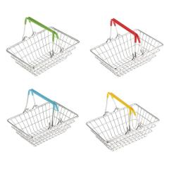 Table top Kids Early Learning Role Play Generic Yellow Small Metal wire mesh Shopping Storage Basket  for holder Toys