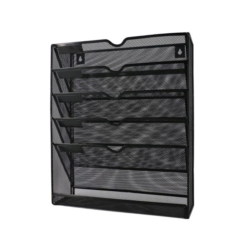 Amazon hot sale office stationery wire metal black document file mesh wall organizer