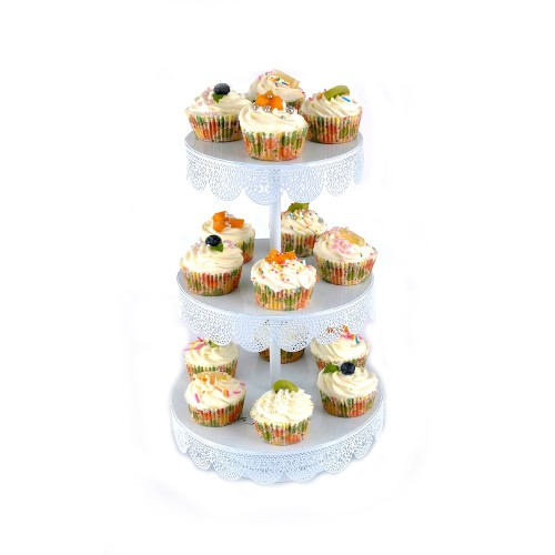 2 Tier Multifunctional Party Decorative Round Shaped Metal Carriage Cake Stand