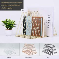 Wideny Rose Gold Metal 9 Slot Triangle Shape Magazine Holder Desktop File Sorter Organizer