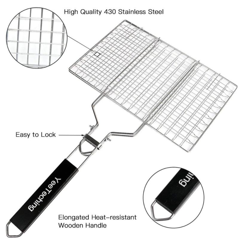 Wholesale Outdoor Portable Folding 100% Stainless Steel Barbecue Grill Basket With Easy Flipping Handle for fish