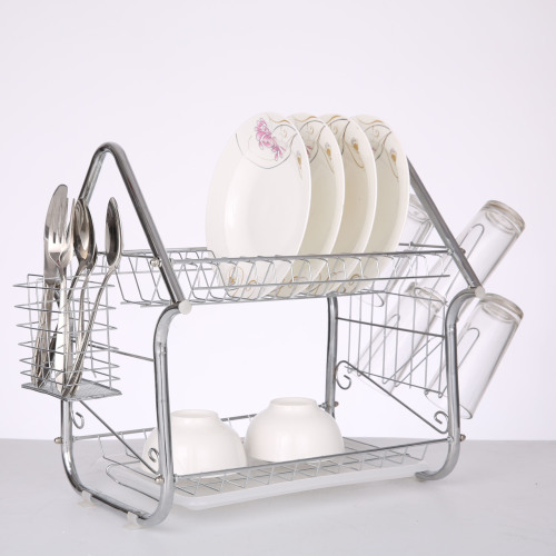 Wholesale fancy design silver 2 tiers kitchen cabinet dish rack for home and kichen