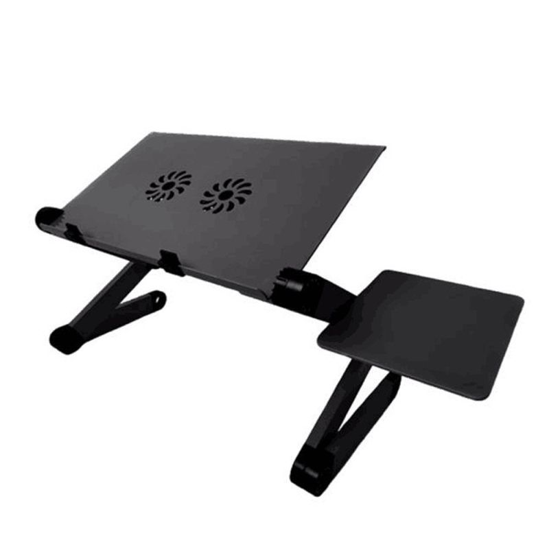 Suitable for Home Working Foldable Laptop Desk Stand with Cooling Fan Mouse Pad Adjustable Height Aluminum Laptop Stand
