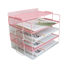 Wideny Home Use Office Storage Document Desk Organizer Metal Mesh 5 Layer Stackable File Trays