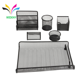 6 pieces office metal mesh desk set silver stationery for school