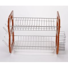 WIDENY Stylish foldable kitchen flatware cup bowl 2 tier drawer dish drying rack with chopstick holder