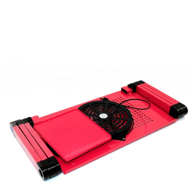 Multi-Functional Foldable Aluminum adjustable laptop desk with fan