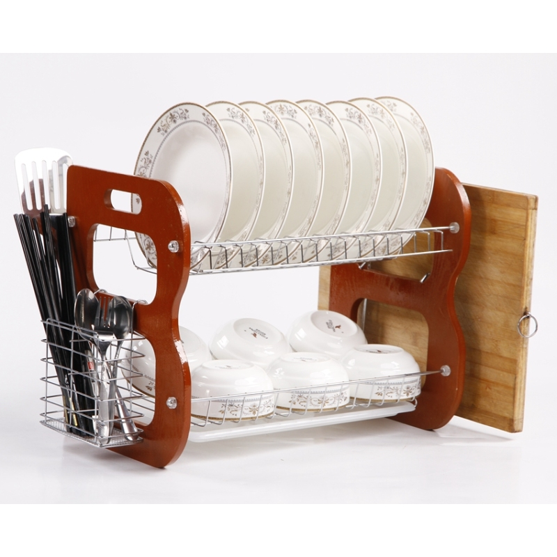 Kitchen Counter Dish Drying Rack with metal basket 2 tiers wooden kitchen dish rack