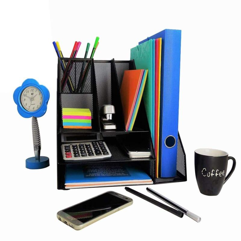 Home Office Supplies Multifunctional Foldable Metal Steel Document Letter File Mesh Black Desk Organizer with Pen Holder