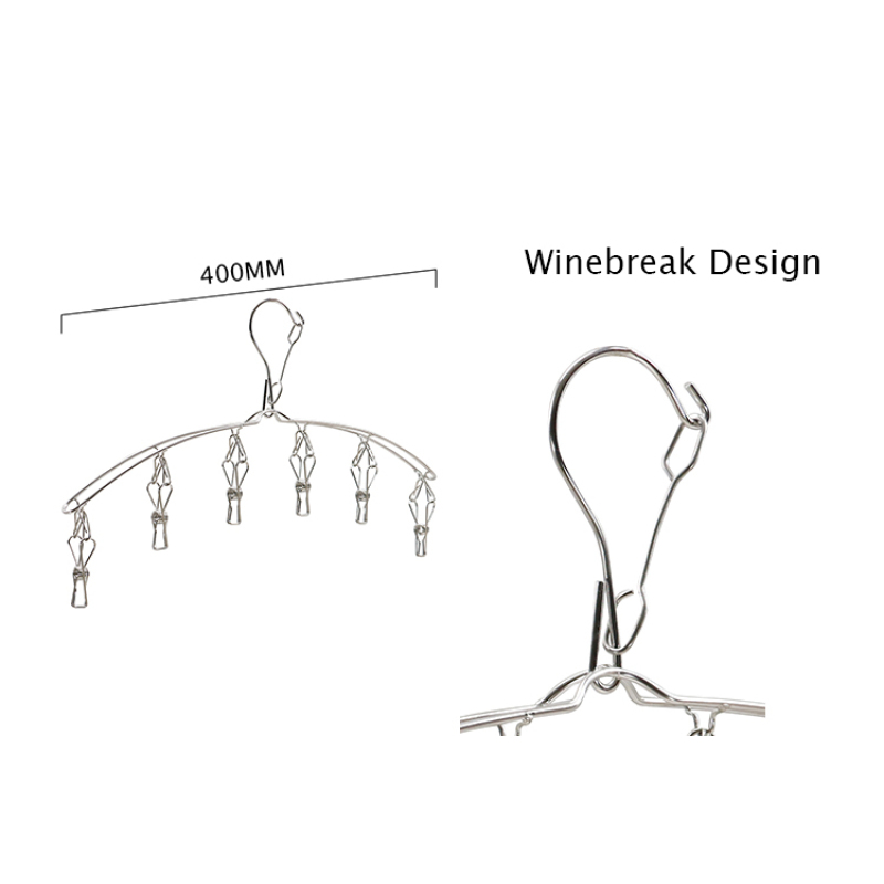 Stainless Steel Silver Bending Single Type Wind-proof Clothes Hangers for Babies clothes