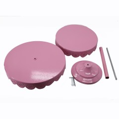 2 tier Metal plate pink iron home apply bread wedding cake cupcake stand