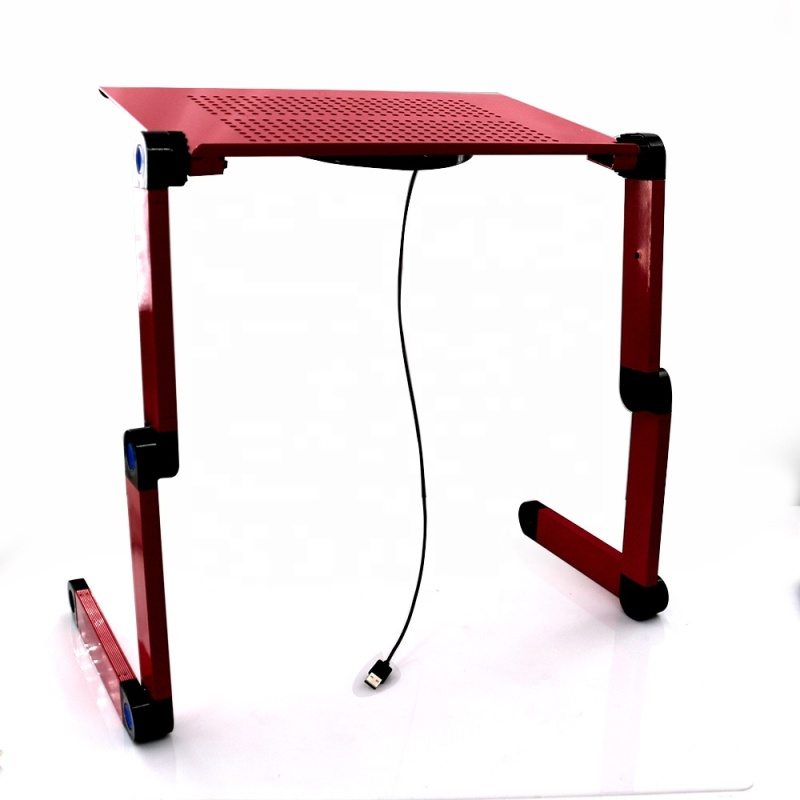 Office Portable Adjustable Aluminum Laptop Desk Stand Table with CPU Fans and Mouse Pad