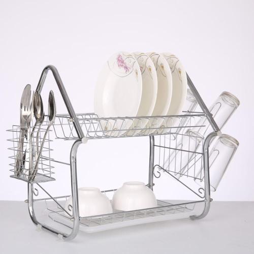 2019 Wideny house type metal 2 tiers folding dish rack tableware for home kichen