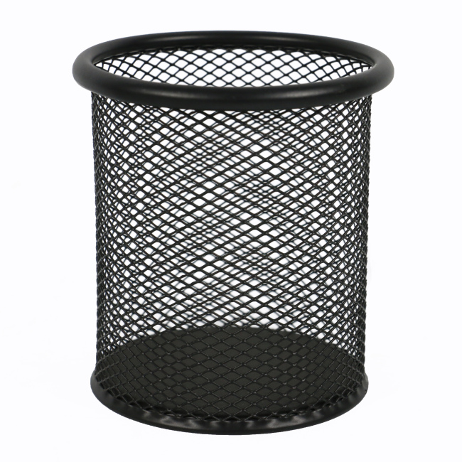 2pcs round custom wholesale stationery desk Pencil holder metal black mesh pen holder