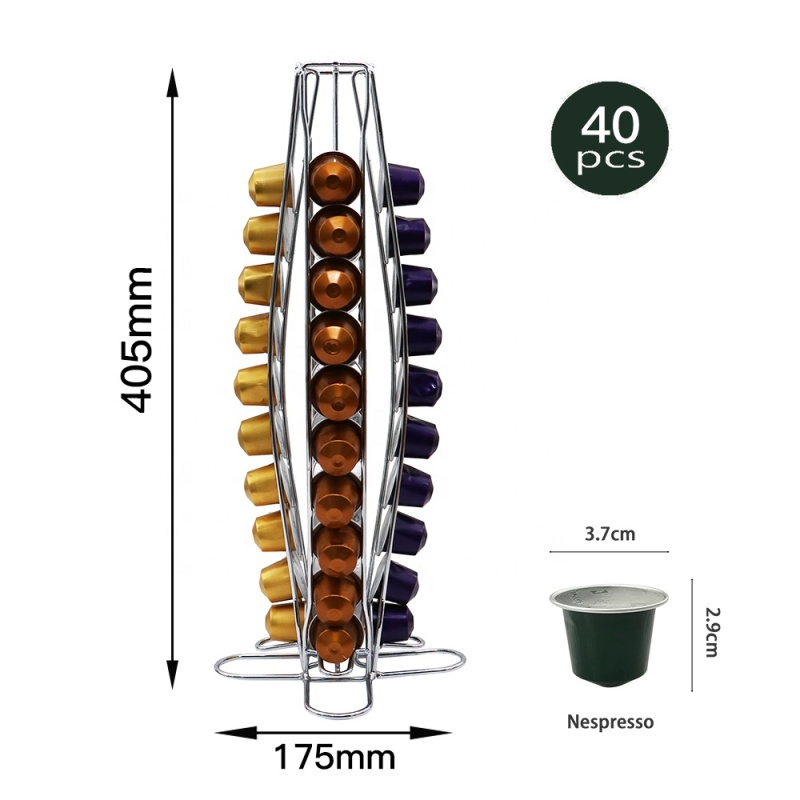 Good price low MOQ Chrome Plated Storage Rack Revolving caffitaly  40 Nespresso capsule holder