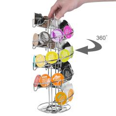 Wideny Coffee Capsule Holder Stainless Steel Dolce Gusto Rotating Coffee Storage Drawer
