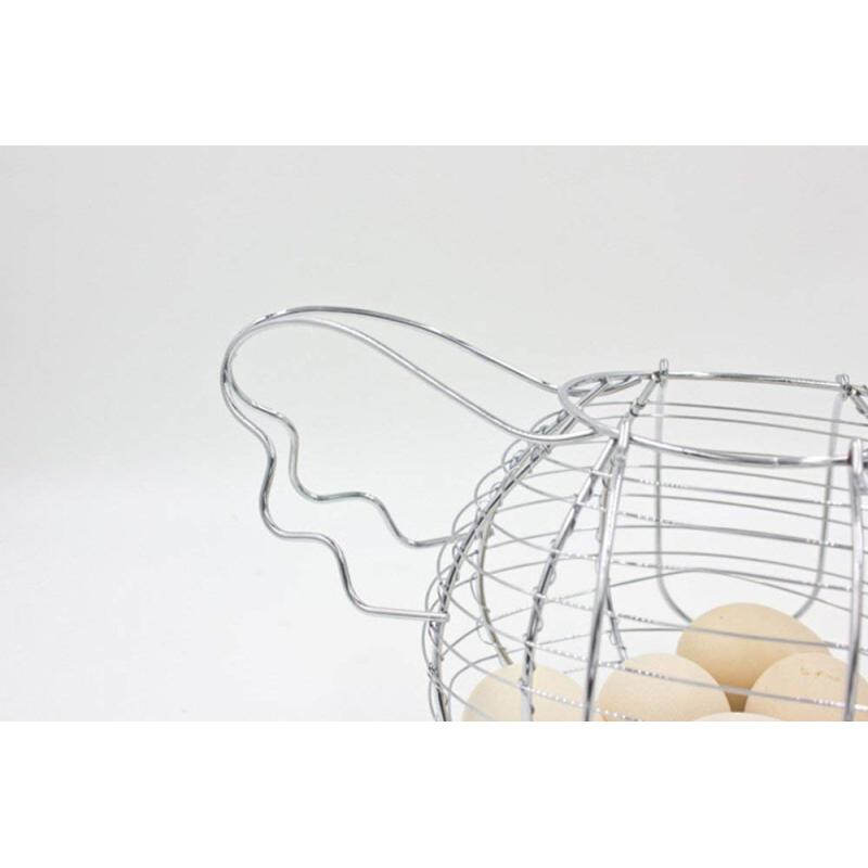 Ware Manufacturing Black Metal Mesh Wire Chicken Shaped Egg Collecting Basket Holder Silver Tone Egg Storage Basket