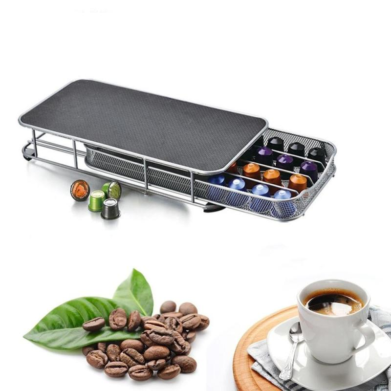 Countertop Metal Chrome 40 Pod Nespresso Coffee Capsules Storage Drawer for home kitchen coffee pod holder