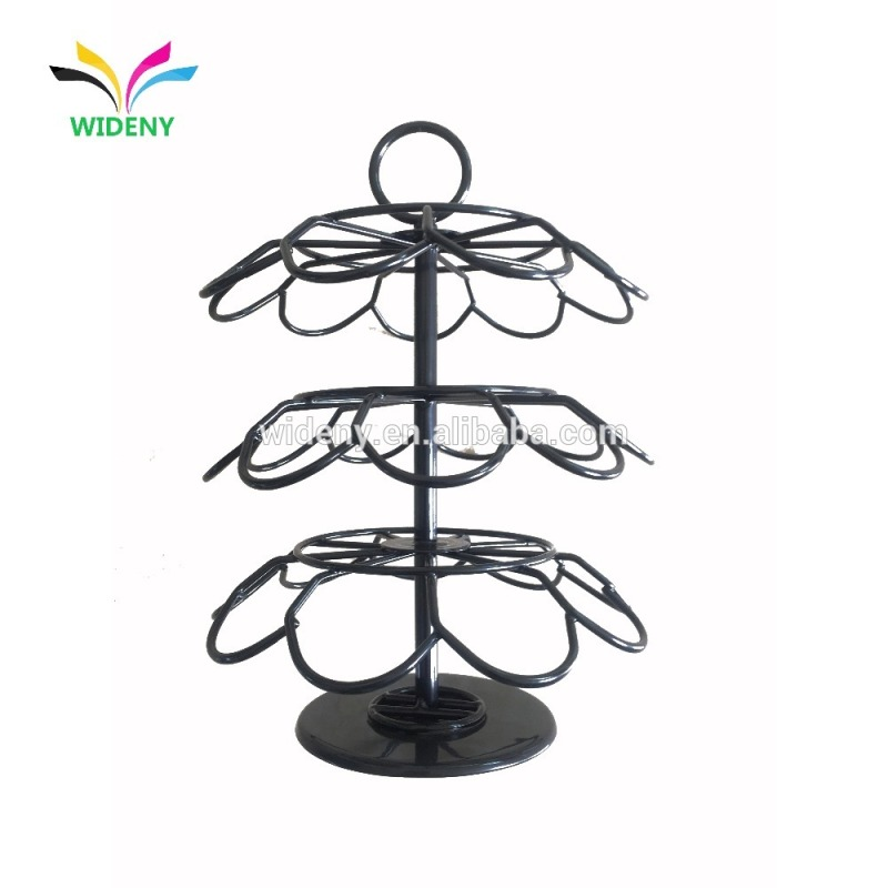 Wideny 360 degree rotating Chrome metal wire Storage Capsules Coffee stand