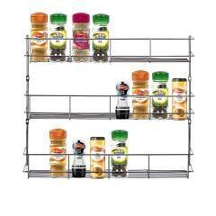Kitchen use cabinet shelf storage wall organizer 3 tier steel metal hanging wire herb jar spice rack for pepper holder