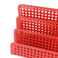 Hollow red circular hole metal mesh office desktop Letter tray