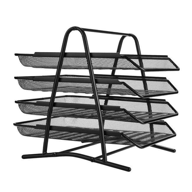 Office Supplies Desk Organizer 2 3 4 5 Trays black Metal Mesh File Organizer for Document Holders