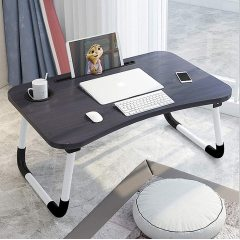 Modern Small Dormitory Table Breakfast Serving Black Adjustable Foldable Laptop Computer laptop table for  Bedroom