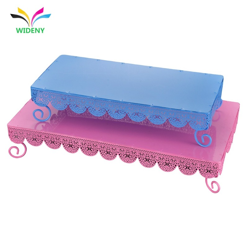 Wholesale promotional powder coated single package party wedding supply 2 tier iron metal mesh square cake stand