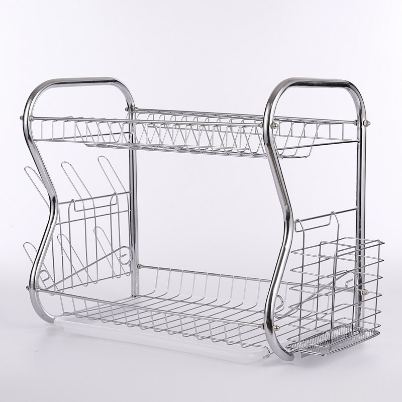 Fast Dispatch Mini Double Tier Bowl Kitchen Plate Drying Standing Mounted Metal Chrome Dish Rack
