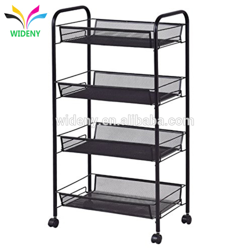 Multi-function Office home metal mesh 4 tier mobile storage file organizer cart with wheels