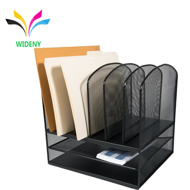 Supply office school metal mesh wire 3 tier 6 Vertical section  stationery  Desktop File Organizer Sorter