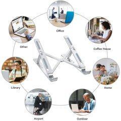Wideny Home Office Ergonomic Aluminium Desktop Adjustable Portable Folding Multifunctional Laptop Table for Phone Desk Stand
