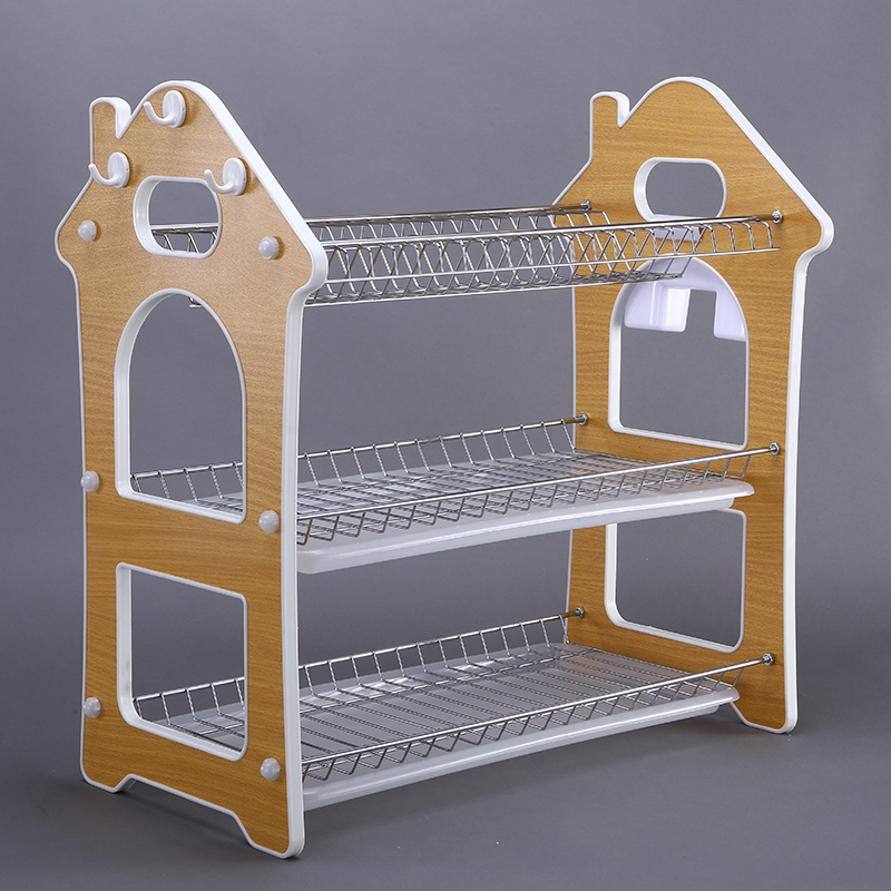 kitchen household 3 tier corner tableware holder stainless steel dish rack with drainer board
