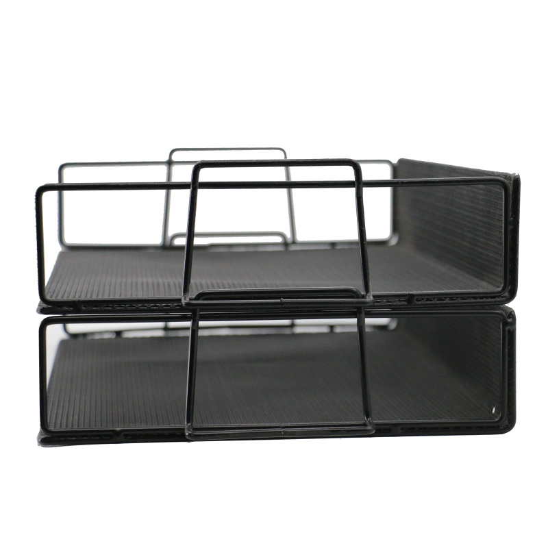 Stacking stationery Detachable 2 tier letter tray wire mesh metal desk file organizer